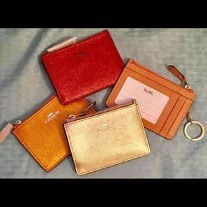 COACH Mini ID Keychain Wallet NWT 4 Colors